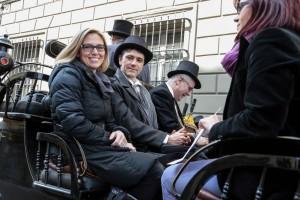 la carrozza con Sara Nocentini e Eugenio Giani